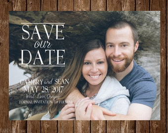Digital Save the date invitation template; customizable; photo, printable