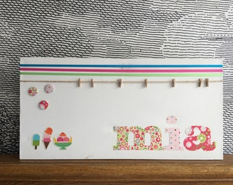 "Personalised decorative peg board - with fabric ice cream icons - 12"" x 30"" - mia, chalotte, thea"