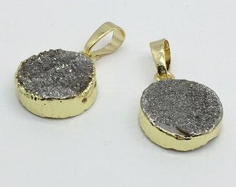 2pcs Gold Plated Druzy Pendant  , Drusy Druzy ,Wholesale Quartz Druzy Charms