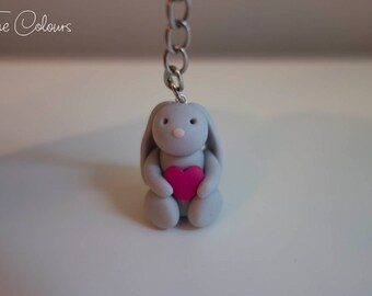 Polymer Clay Bunny Rabbit Heart Keyring - FREE SHIPPING