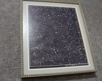 Framed unique star map, 1 & 2 Ursae Majoris constellation