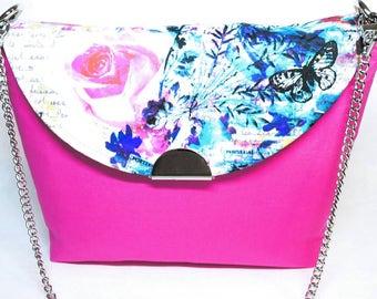 Pink flower purse - spring purse - pink purse - flower purse - colorful purse - pink shoulder bag - spring fashion - handmade purse - floral