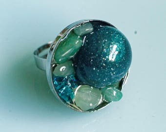 Ring, Resin, dark green, forest glade