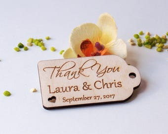 Thank you wedding tags-Wedding favors-Wedding favor tags-Hearts tags-Wedding favor rustic-Wedding tag-Custom tags-Wooden tags-Wood hearts