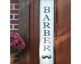 Distressed Vintage Inspired Hand Painted BARBER Wood Sign Framed Vertical Wall Décor