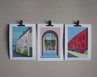 Art print set of 3 London Mews designs, art gift set