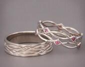 14K/18K White Gold Eternity Wedding Rings set with Purple Rhodolite |Handmade 14k white gold  wedding Rings | His and Hers Wedding Bands Set