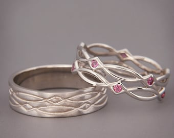 14K/18K White Gold Eternity Wedding Rings set with Purple Rhodolite |Handmade 14k white gold  wedding Rings | His and Hers Wedding Bands Set