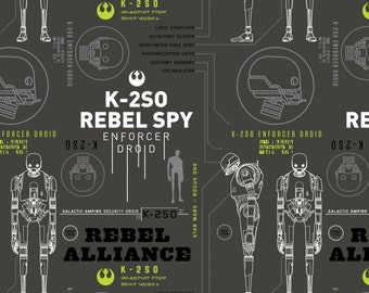 """Star Wars Fabric - Camelot Star Wars Rogue One Carbon Grey K-2S0 100% cotton 43"""" fabric by the yard, A384"""