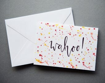 Wahoo! Congratulations Card - A6 Charity Card - Celebration / Wedding / Engagement - Modern Calligraphy Watercolour Greeting Card