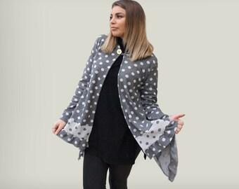 Gray polka dots cardigan / women polka dots hoodie/ gray cotton cardigan with hood/ loose asymmetric cardigan/ gift for her /