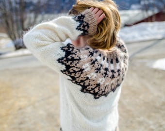 Hand knit Sweater, Nordic Fair Isle sweater, Icelandic sweater, lopapeysa, women's sweater, nordic sweater, wool pullover, gift for her