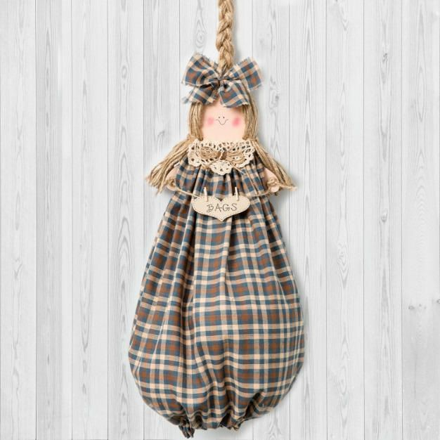 Home Decor Hostess Gifts: Blue Home Decor Grocery Bag Holder Hostess Gift Country