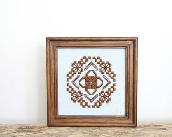 Small Blue and Brown Embroidery // Vintage Frame Crewel Art