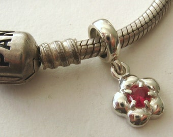 925 Sterling Silver Bead with DAISY RUBY DROP