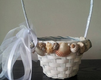 Beach Flower Girl Basket. Wedding Girl Flower Basket. Seashell Flower Girl Basket. Rustic Flower Basket Beach Wedding