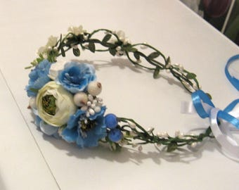 Blue Floral crown Flower headband Hair Vine Bridal headband  Flower wreath Hair band Headwear Festival Garland Wedding circlet