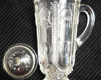 Pressed Glass Creamer with Lid Vintage