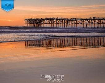 Beach,Ocean,Sunset,Wave,Love,Clouds,California,San Diego,Photo,Pier,Reflections,Wall Art,Metal,Print,Pacific Beach,Orange,Blue,Fine,Crystal