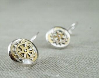 Watch mechanisms and gears earrings