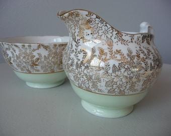 Vintage Royal Vale Milk Jug & Sugar Bowl Green Gold Gilt