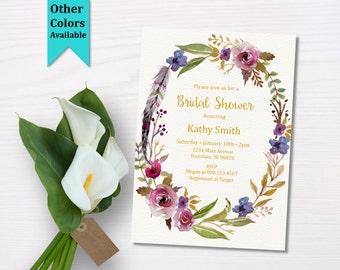 Boho Bridal Shower Invitation. Bohemian Bridal Shower Invitation. Floral Bridal Shower Invitation. B57_c