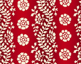 By The HALF YARD - Sara's Stash by Sara Morgan for Blue Hill Fabrics, Pattern #7409-2 Floral Vine Stripe in Tonal Red and White