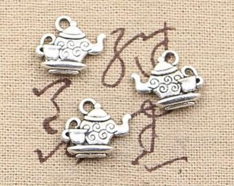 6 Teapot Charms W/ Tea Cup Antique Silver Tone Charms Charm Bracelet Bangle Bracelet Pendants #109