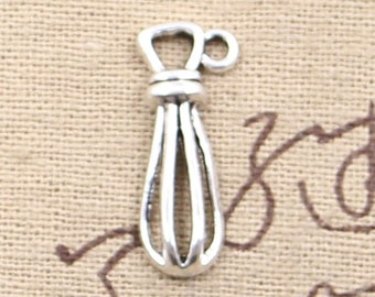 10 Egg Beater Whisk Charms Antique Silver Tone Charms Utensil Charms Cooking Charms Charm Bracelet Bangle Bracelet Pendants #900