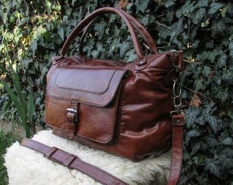 Handmade Leather Diaper Bag / Leather Duffle Bag / Handmade Leather Travel Bag / Dark Brown Leather Weekender Bag