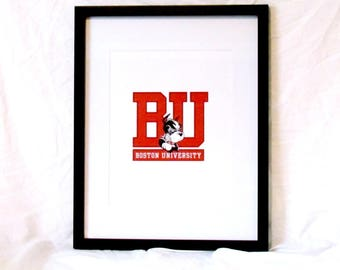 Boston University Terrier Wall Art Boston Printable Boston University Graduation Gift College Studen Gift Instant Download