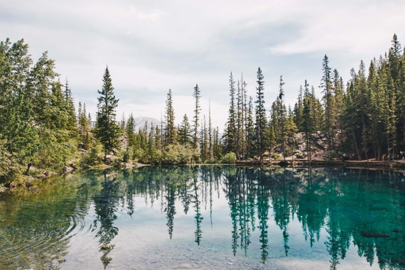 Canada, Reflection, Trees, Green, Nature, Print, Photograph, Fine Art, Wall Art, Canmore, Grassi Lakes, Alberta, Lakes, Canadian Rockies