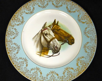 Horse decorative plate - W H Grindley & Co – Broadhurst Brothers Burslem - Satin-White Ironstone with blue and gold rim – made in England