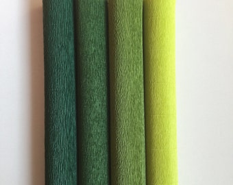 160g German floristic crepe paper (Floristenkrepp) - dark green, lime green, grass green, may green. Quality made in Germany.