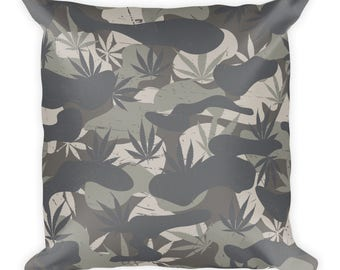 Decrotive Pillow, Cammo Pillow, Cammo Cannabis pattern, 420 pillow, Home Decor, Accent Pillow