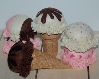 Felt Food Set - Felt Ice Cream Set - Pretend Play - Play Kitchen Set - Summer Toys - Felt Play Food - Pretend Ice Cream Cone - Gift for Kids