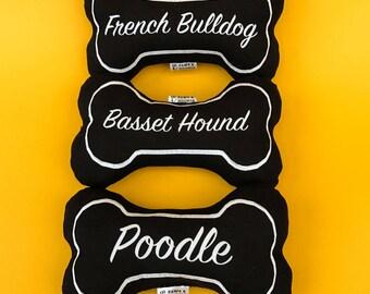 Dog Bone Toy, Stuffed Dog Toy, Dog Breed Dog Toy, Soft Dog Toy