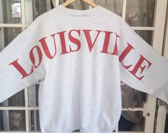 Vintage 90s Louisville sweatshirt spellout big/grey white/large/made in usa