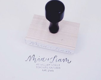 hand-lettered address stamp