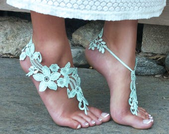 Pale Mint Barefoot Lace Sandals, TIFFANY, Bridal Wedding Party, Festie Feet, Fairy Photoshoot Prop Woodland Creature Marriage Details Anklet