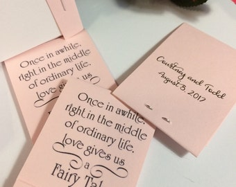 Wedding Baby Bridal Shower Favors FAIRY TALE  40 Custom Matchbook Mini Notepad PERSONALIZED