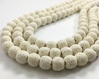 10mm Natural Lava Beads,White Lava Rock Beads,Lava Beads,Jewelry Making