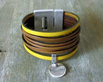 Cuff leather bracelet genuine, yellow and Camel. Loving money 30MM plate clasp.