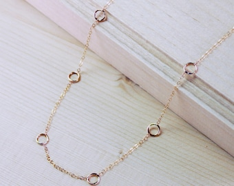 Gold Circle Chain Necklace, Layering Necklace, Dainty Gold Necklace, Delicate Necklace, Minimalist Chain Necklace