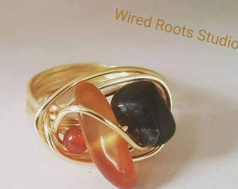 Carnelian agate ring, multi gemstone wire wrapped ring, fashion ring, carnelian agate & obsidian ring, boho ring, German style wire ring