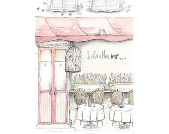 French Cafe (Le Chien Noir) - Wall Art Print French-Themed