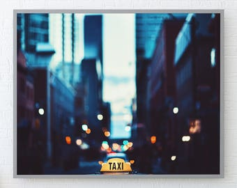 New York City Photography, Taxi, New York Skyline, New York, New York City, Yellow Cab, New York Art, Night Photography, Fine Art, 178