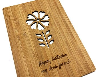 Custom-made Laser Cut Flower Card   Mum, Sister or Best Friend Birthday Card   Personal Message Engraved
