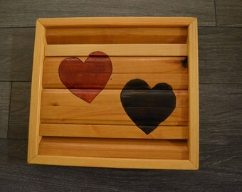 Double Wooden Heart Wall Art Black Red