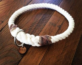 Millie & Bailey Natural Rope Slip Dog Collars and Leads